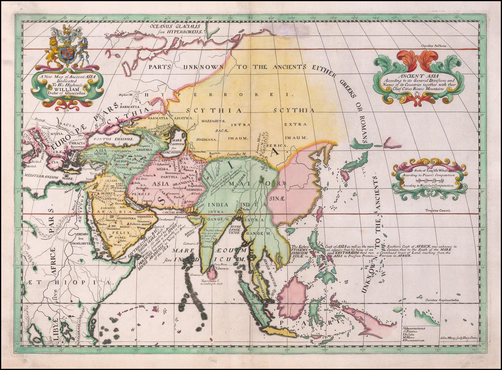 Декоративная карта Азии, опубликованная в Оксфорде в 1700 году