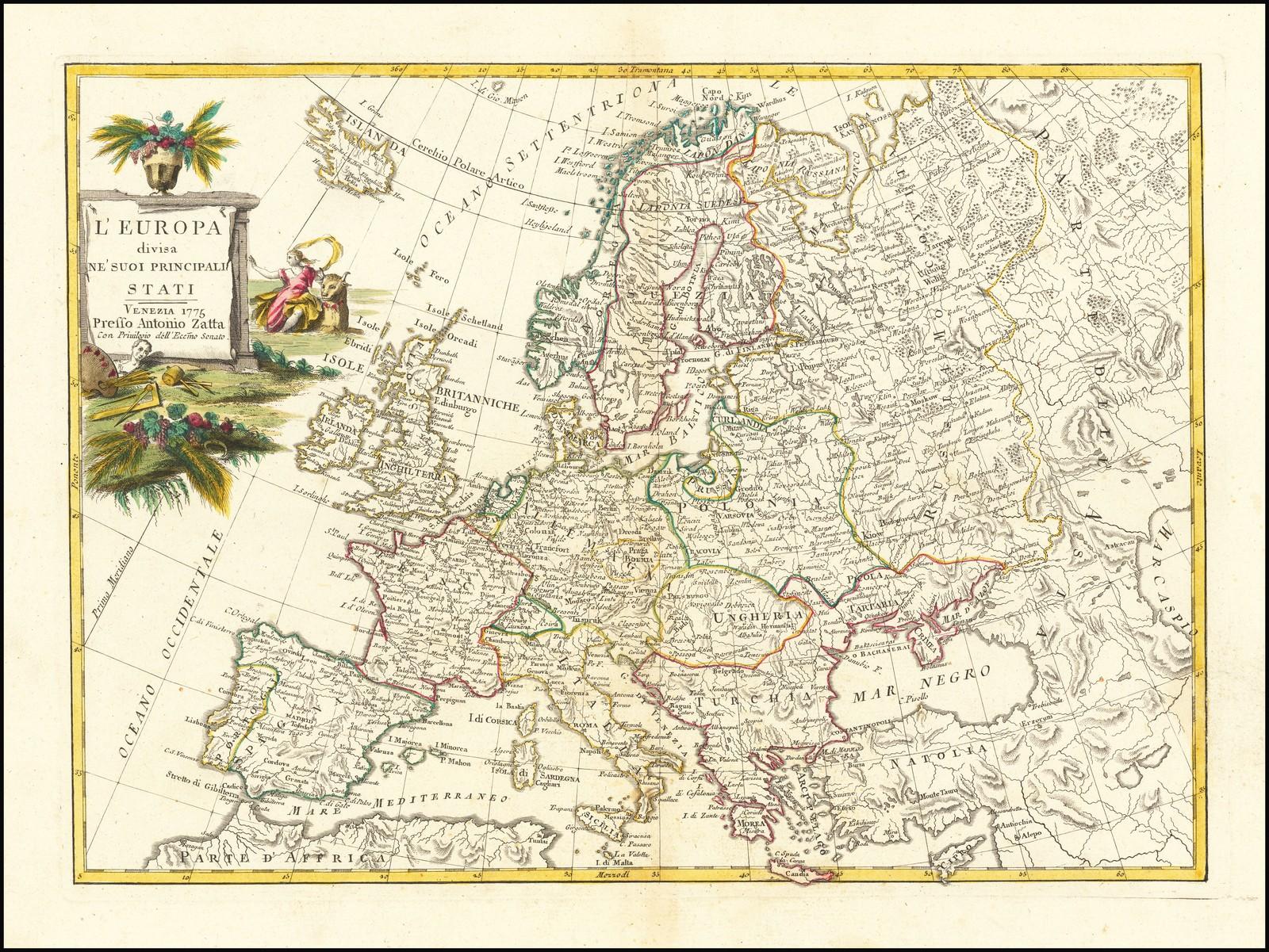 Декоративная карта Европы, изданная в Венеции в 1775 году