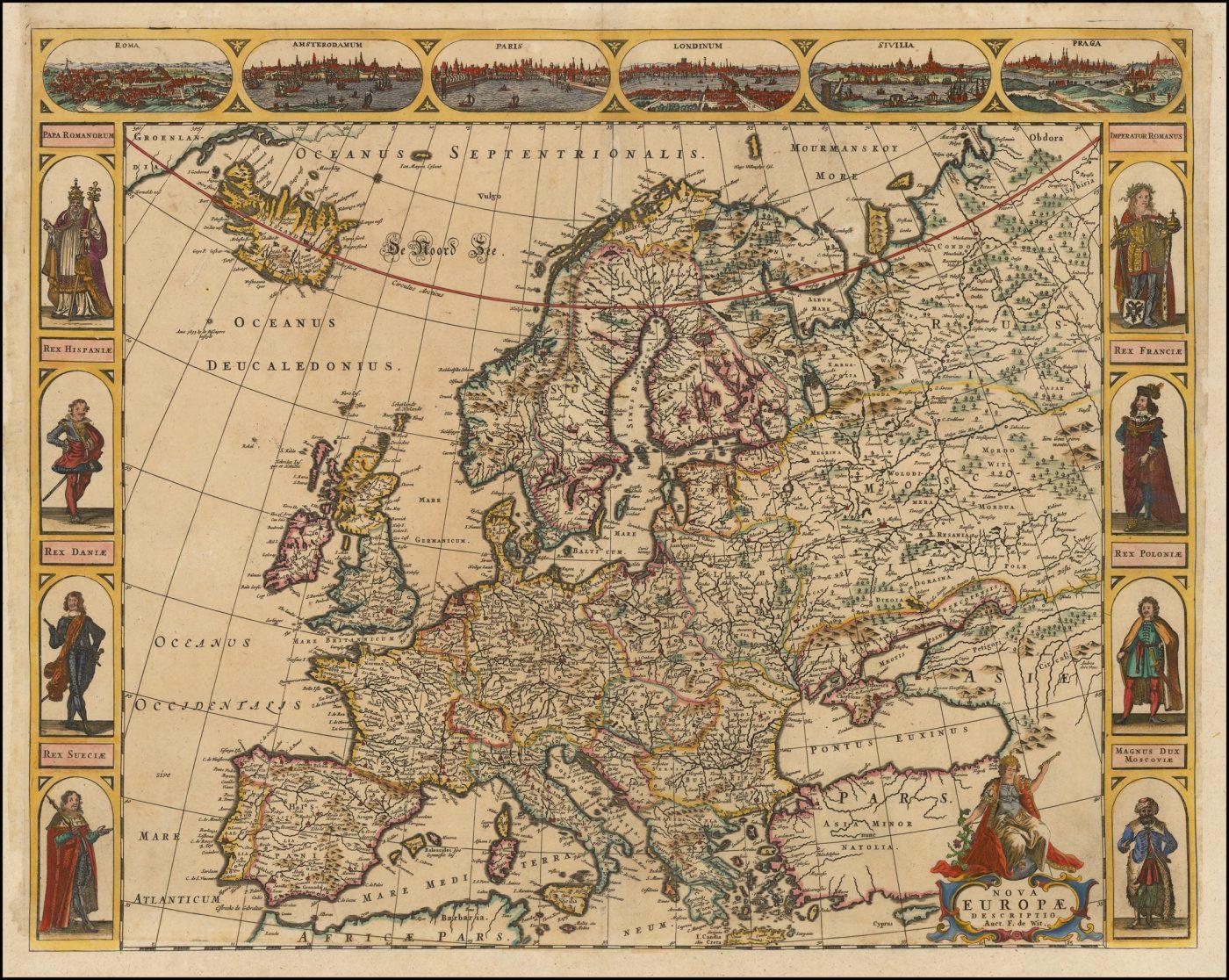 Декоративная карта Европы с фигурами, изданная Фредериком де Виттом