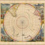 Декоративный пример карты Янссона южной полярной области, включая самое раннее появление Новой Зеландии и Земли Ван-Димена