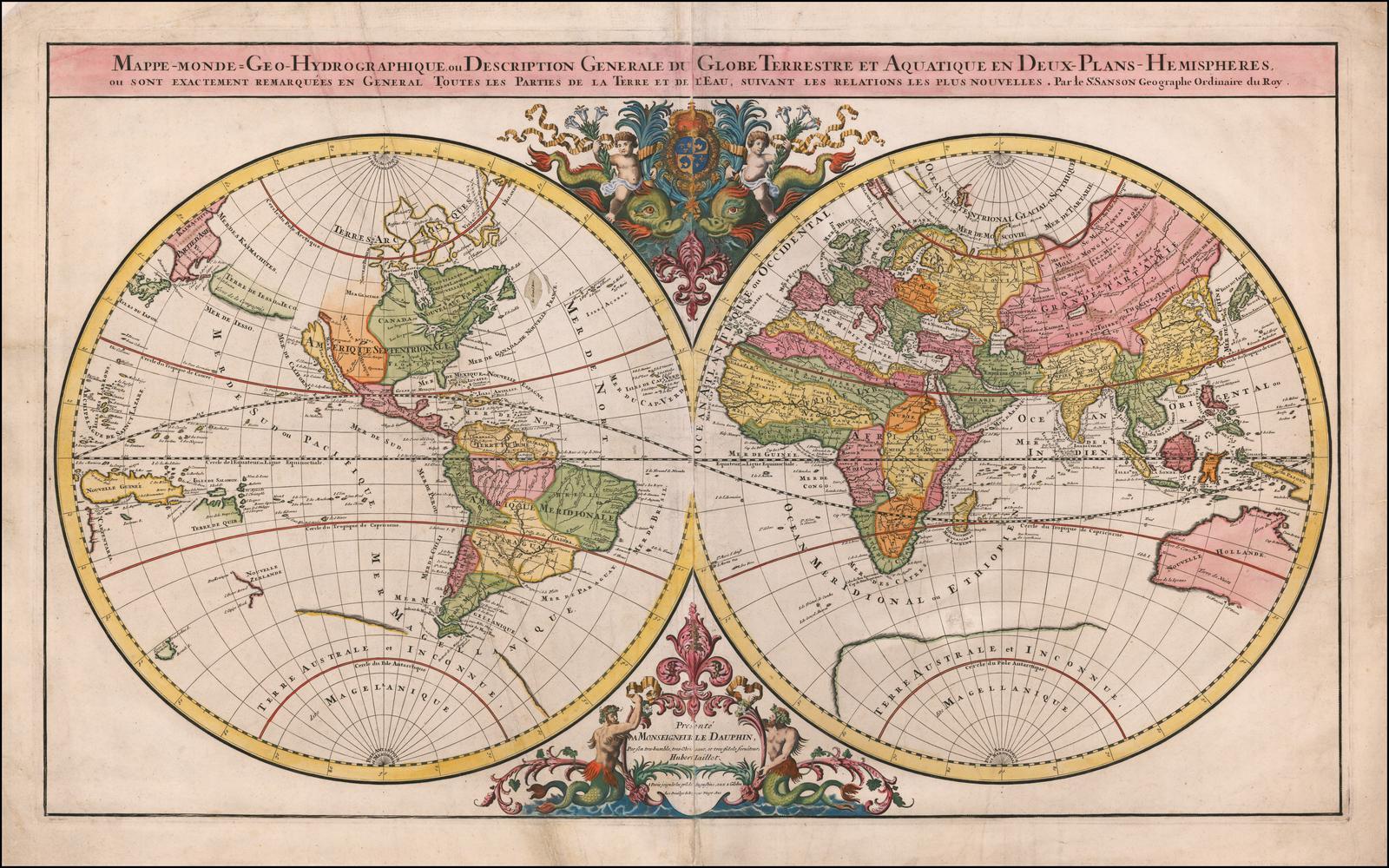 Элегантная двойная полусферическая карта мира, опубликованная Алексис-Хьюберт Джайлот, с последними открытиями и декоративными украшениями