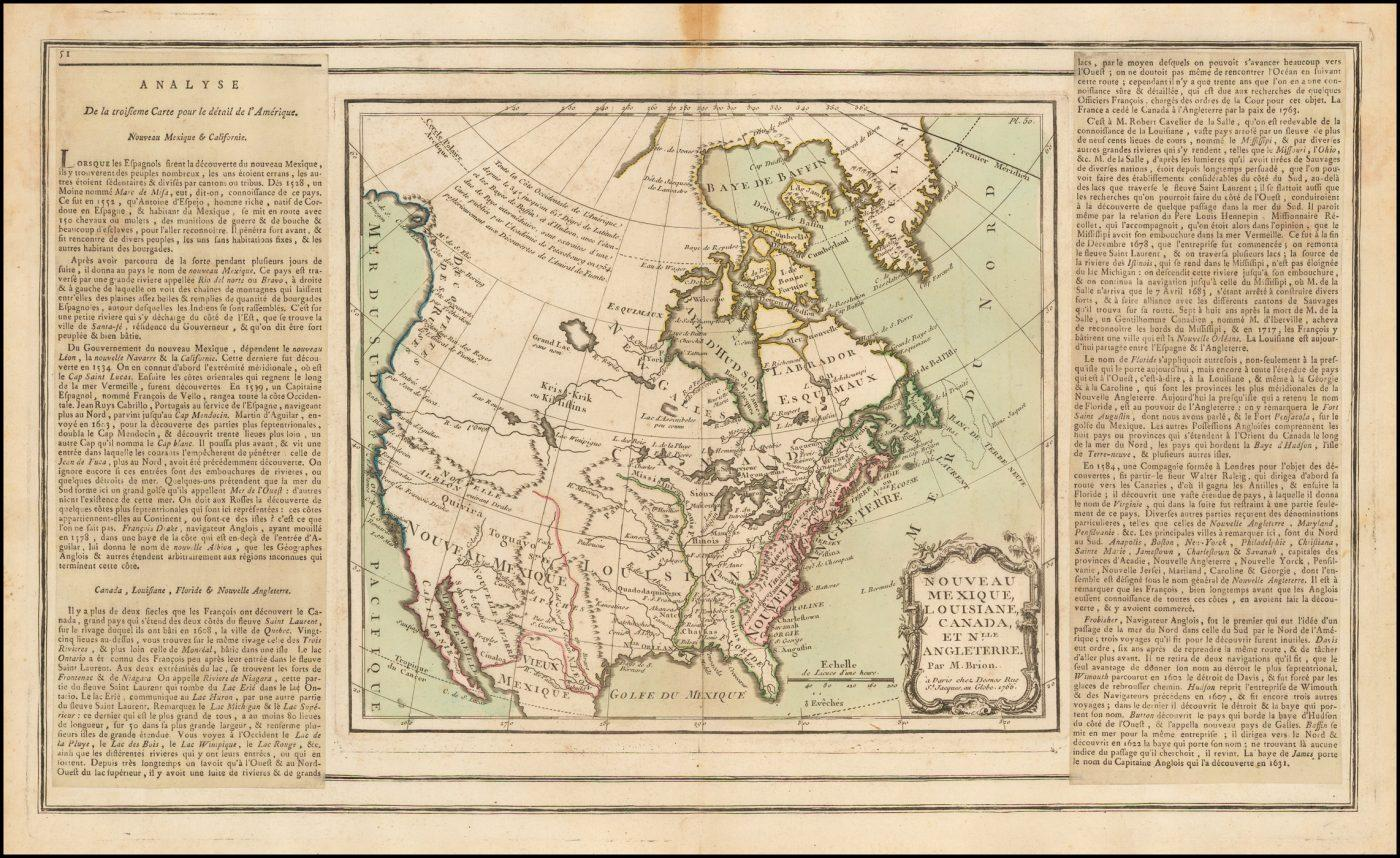 Карта большей части Северной Америки Brion De La Tour's 1766 года