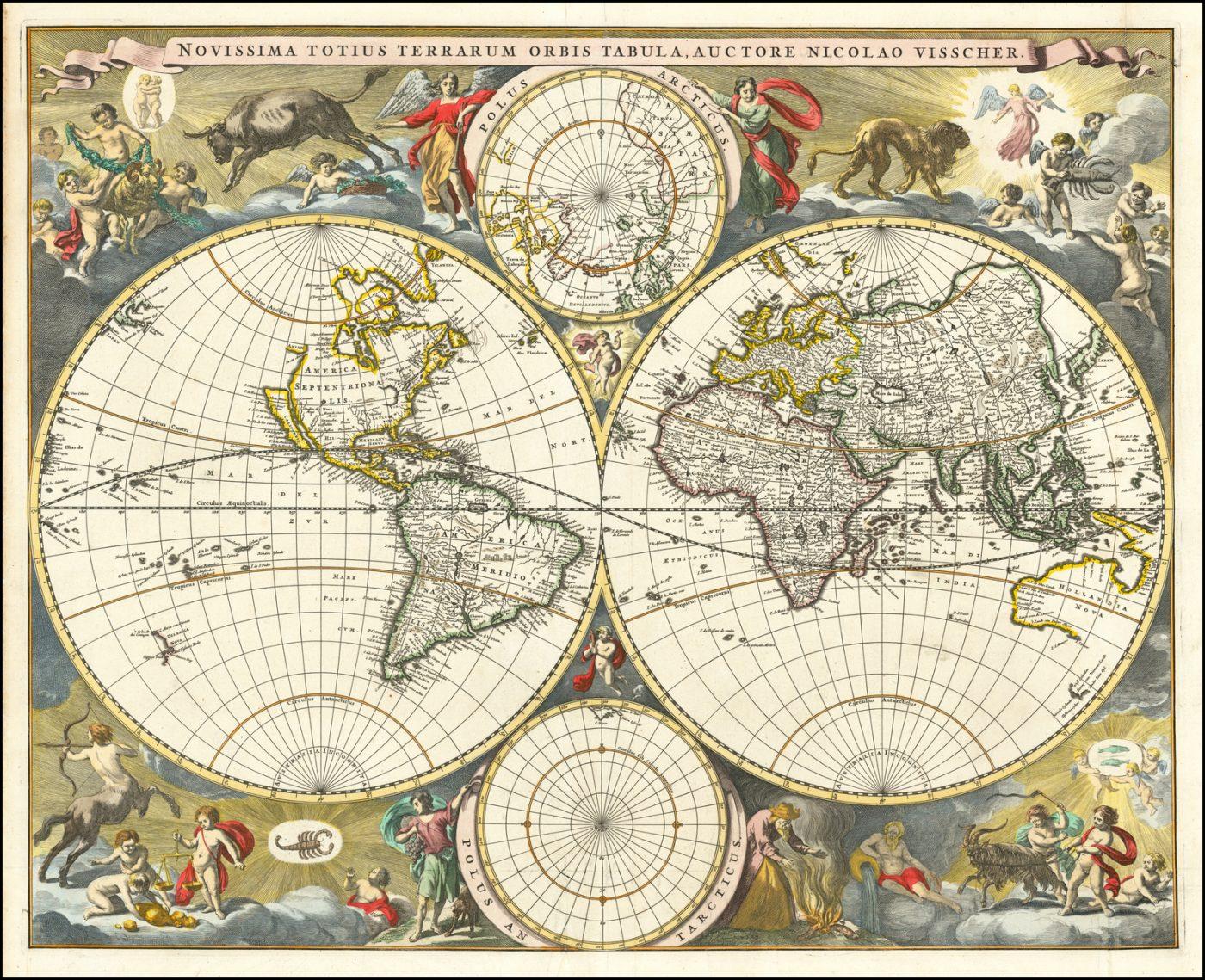 Карта мира Николаса Вишера, появившаяся в его малом Атласе после 1679 года