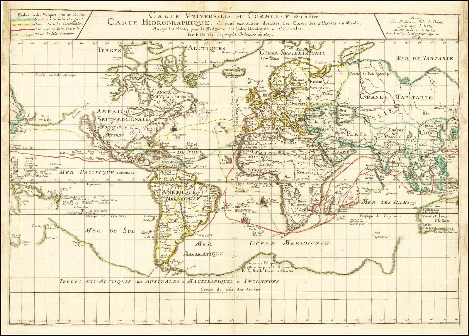 Карта мира Пьера Дю Валя, иллюстрирующая наиболее важные мировые торговые пути в середине 17-го века