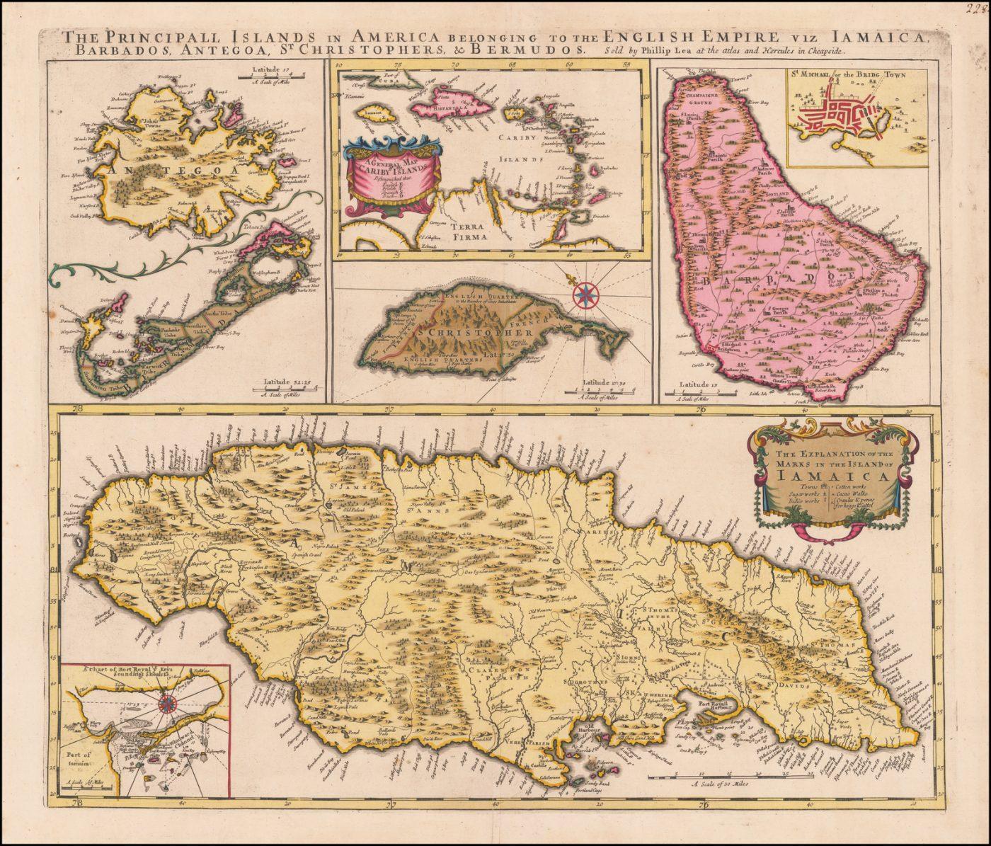 Карта основных островов Америки, принадлежащих английской империи: Ямайка, Барбадос, Антигуа, Сент-Кристофер и Бермуды