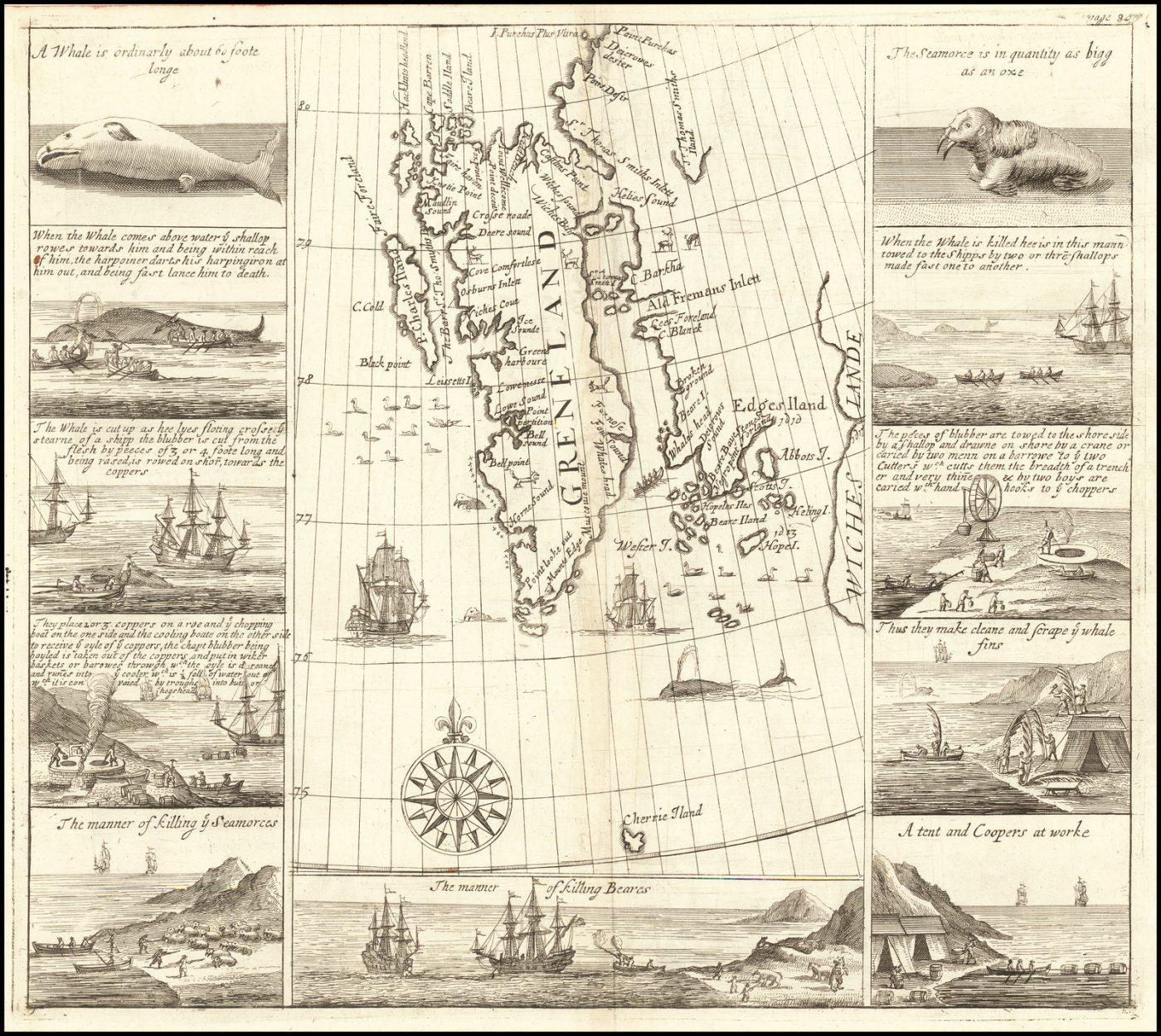 Карта ранних китобойных путешествий компании Московия
