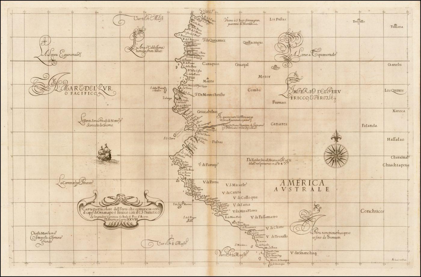 Карта Роберта Дадли Северо-Западного побережья Южной Америки, самая ранняя из доступных карт этого региона