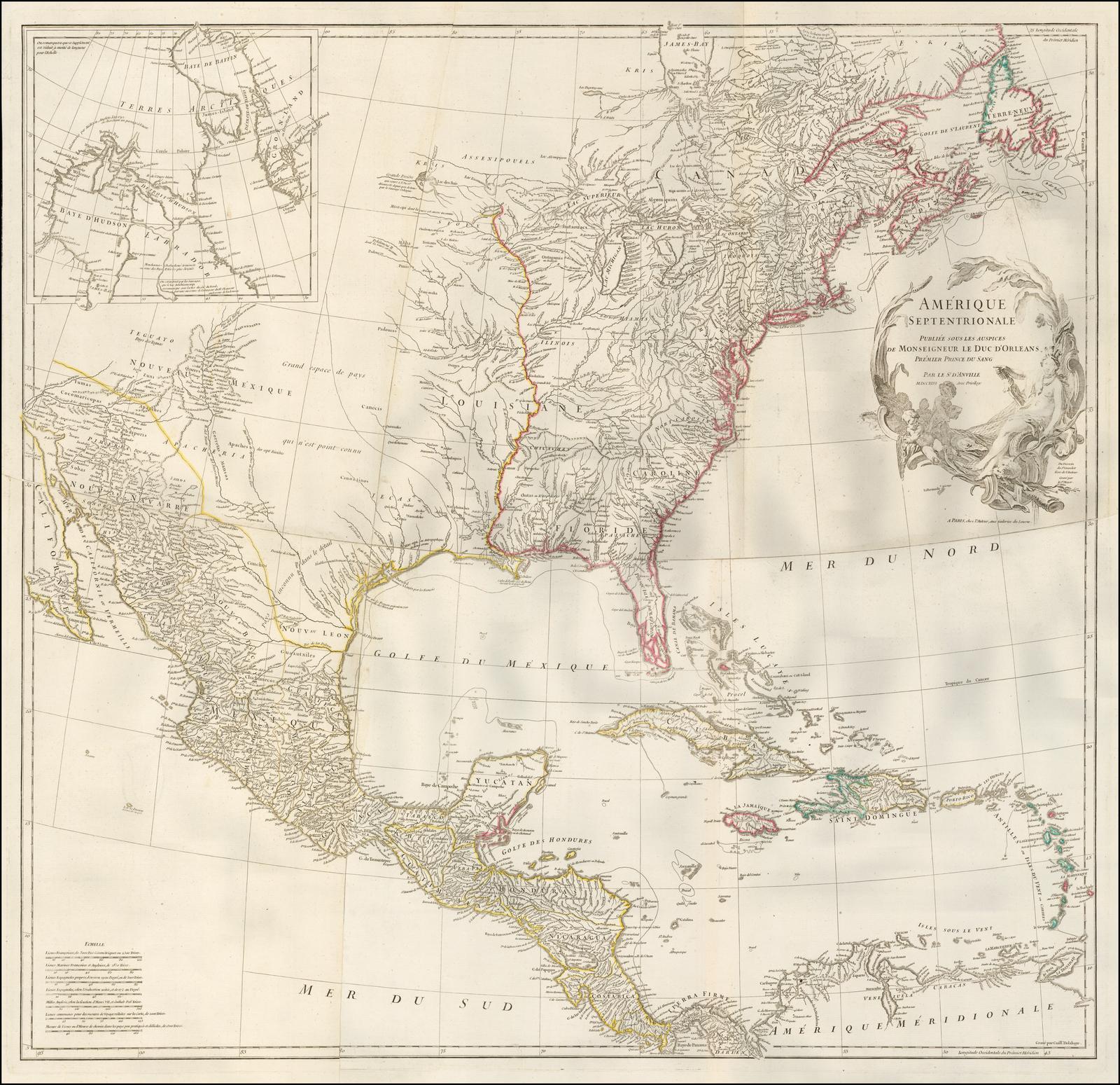 Карта Северной Америки Д'Анвиля, одна из лучших французских карт Америки до Франко-индийской войны