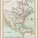 Карта Северной Америки с ранним примером Западного залива из книги Ле Ружа опубликованной в Париже в 1748 году