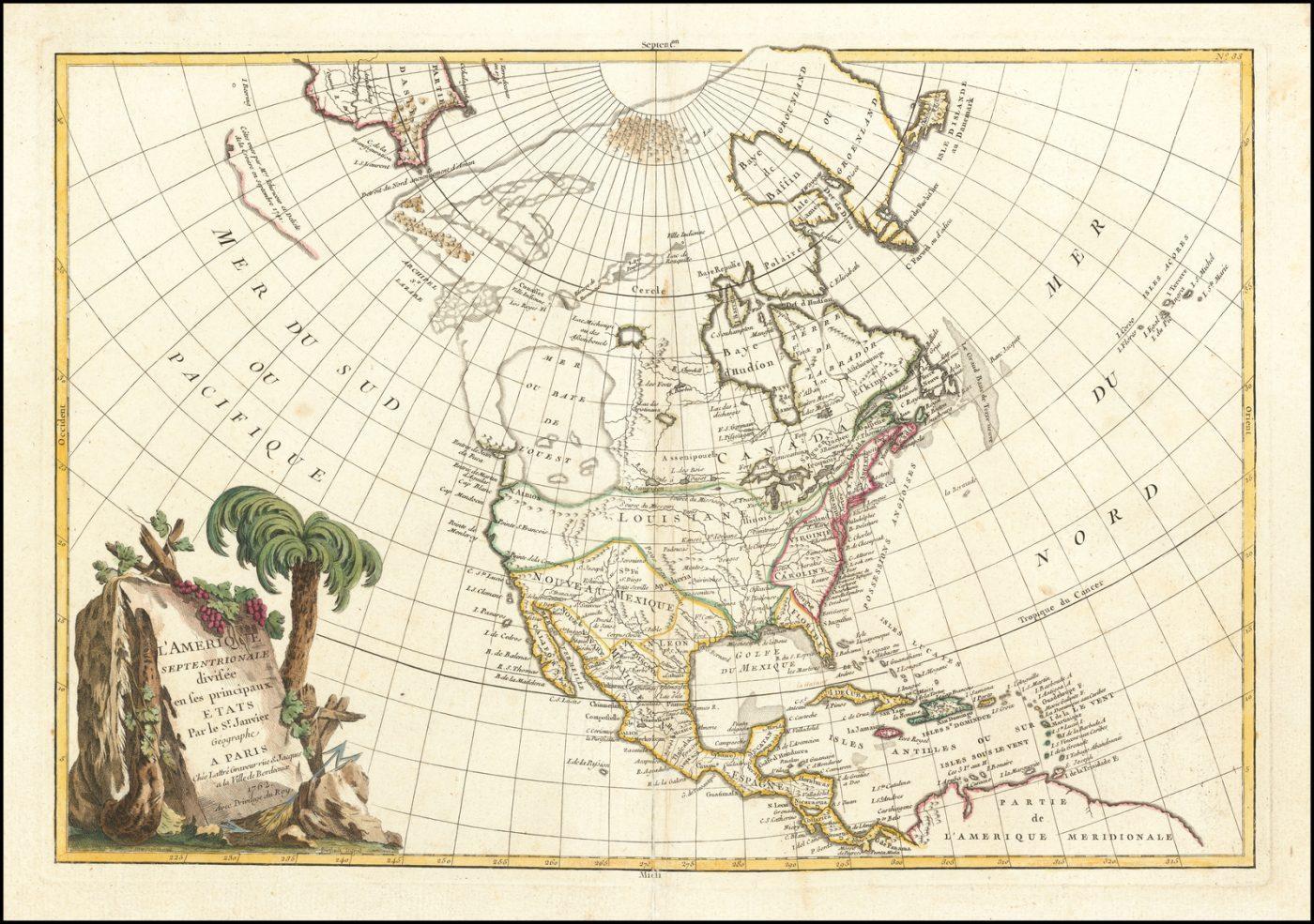 Карта Северной Америки Жанвье, изображающая миф о море Запада, русские открытия в Северо-Западной Америке и множество других интересных деталей