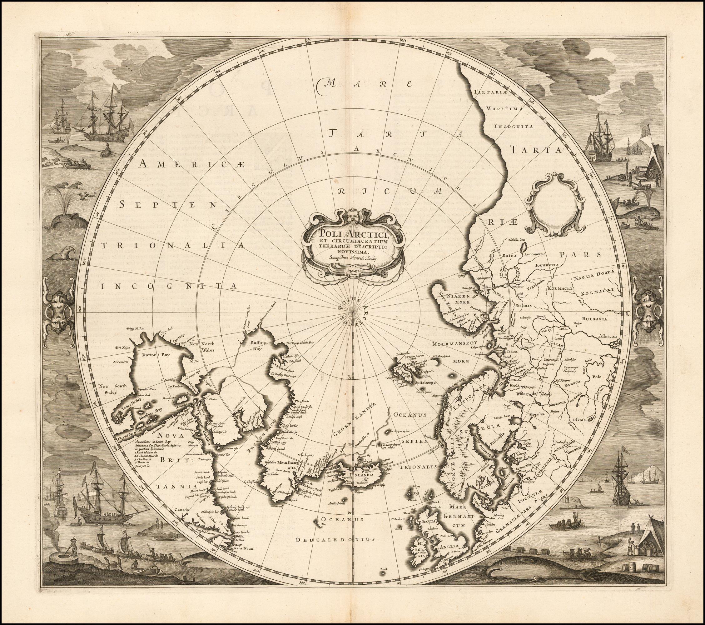 карта северных полярных областей Генриха Хондиуса, впервые изданная в 1636 году