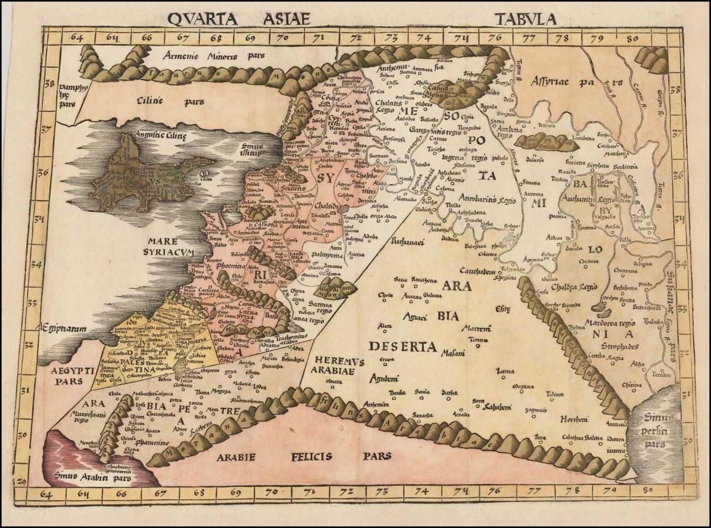 Карта Святой Земли Птолемея, Леванта и Месопотамии, напечатанная в Страсбурге в 1513 году Мартином Вальдзимюллером
