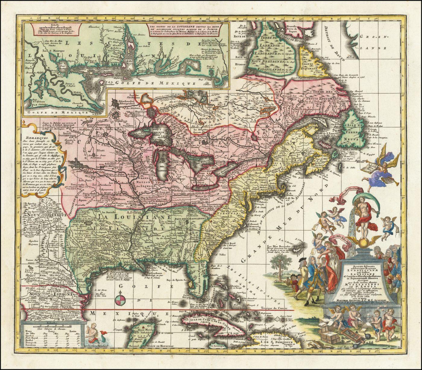 Карта восточной части Северной Америки XVIII века с сатирическим картушем