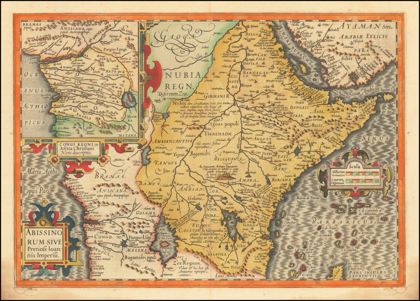 Крупноформатная карта королевства Пресвитера Иоанна, мифического африканского короля, которого крестоносцы считали обращенным в христианство