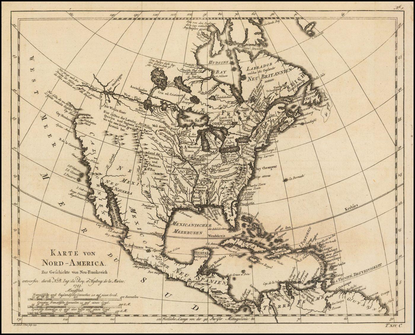Лейпцигское издание карты Северной Америки Николя Беллина, впервые опубликованной в 1743 году