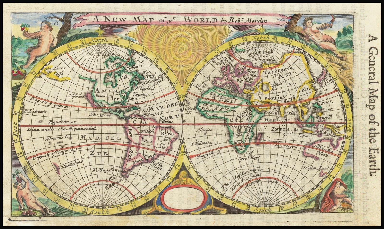 Новая карта мира от Роберта Мордена 1693 года