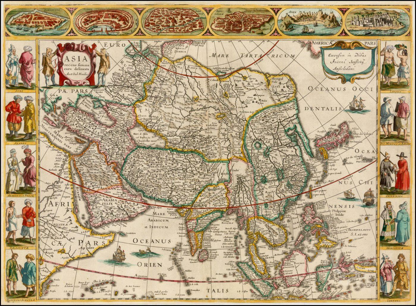 """Очень красивая карта Азии """"Carte à Figures"""", написанная Яном Янссоном в честь его шурина Йодока Хондиуса"""