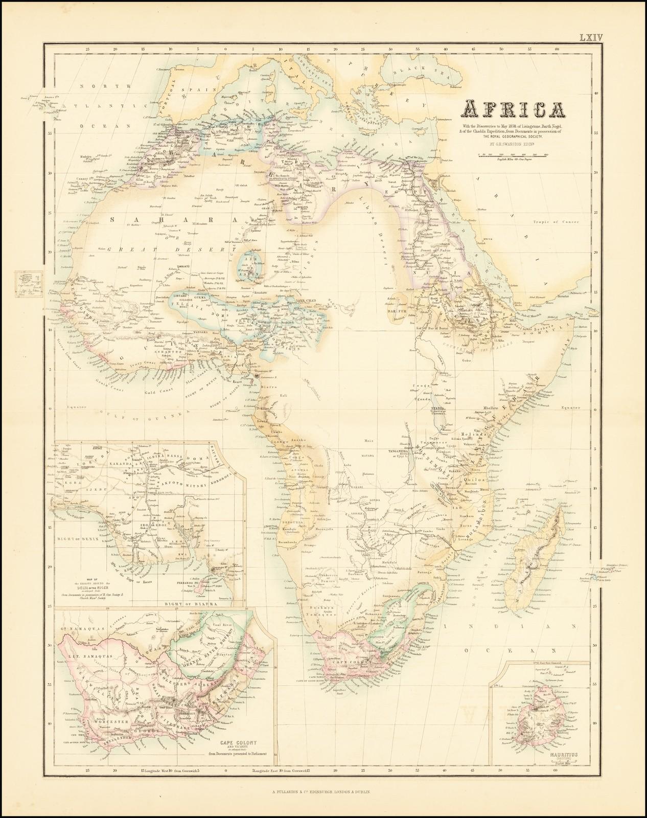Очень подробная карта Африки, показывающая степень европейских знаний в середине 19 века