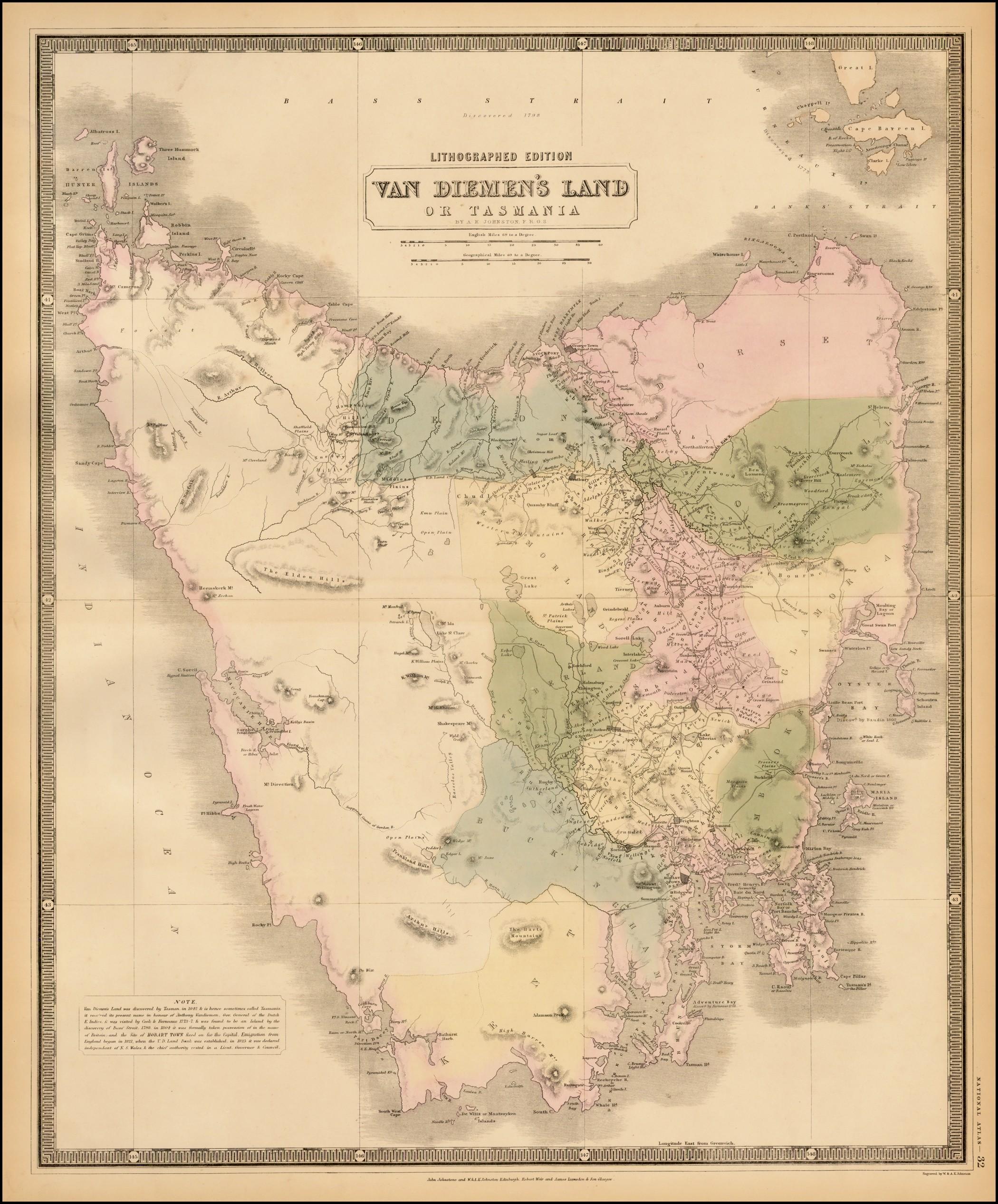 Очень подробная карта Тасмании, включая провинции и землевладельцев