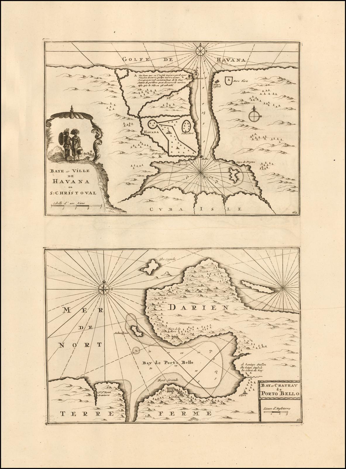 Очень редкий двусторонний картографический лист с тремя планами важных испано-американских портов: Гаваны, Портобелло и Картахены