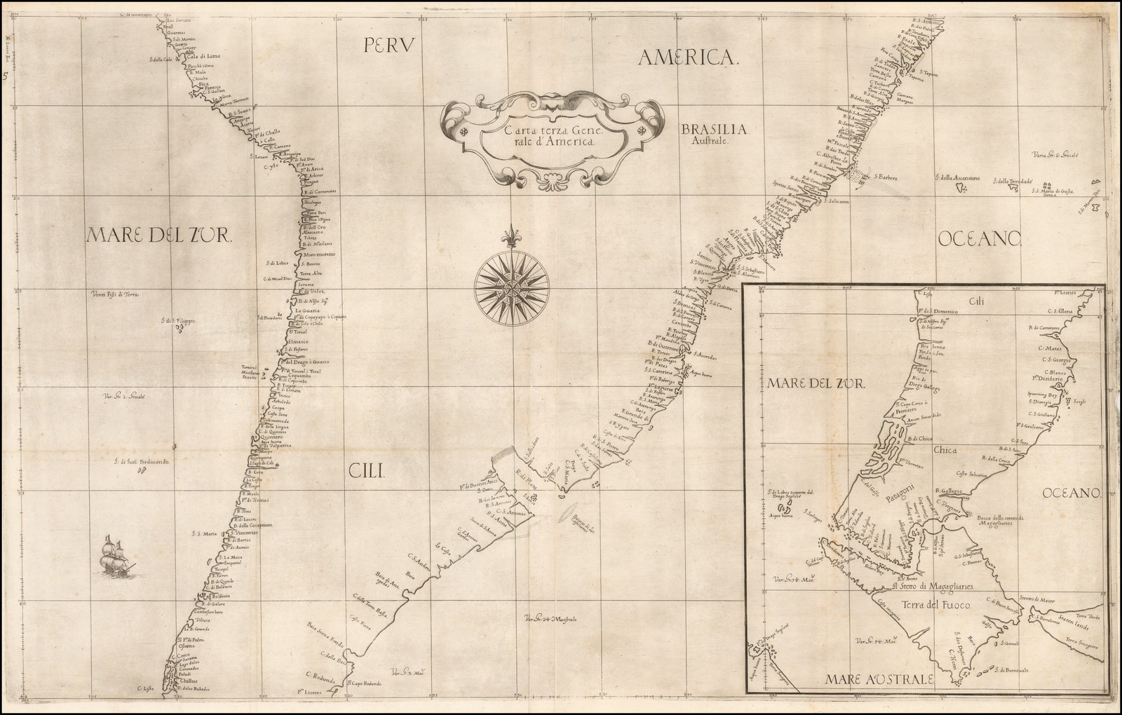 Одна из самых ранних доступных морских карт Южной Америки Роберта Дадли 1646 года