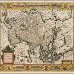 Оригинальная карта Азии Клааса Вишера 1657 года