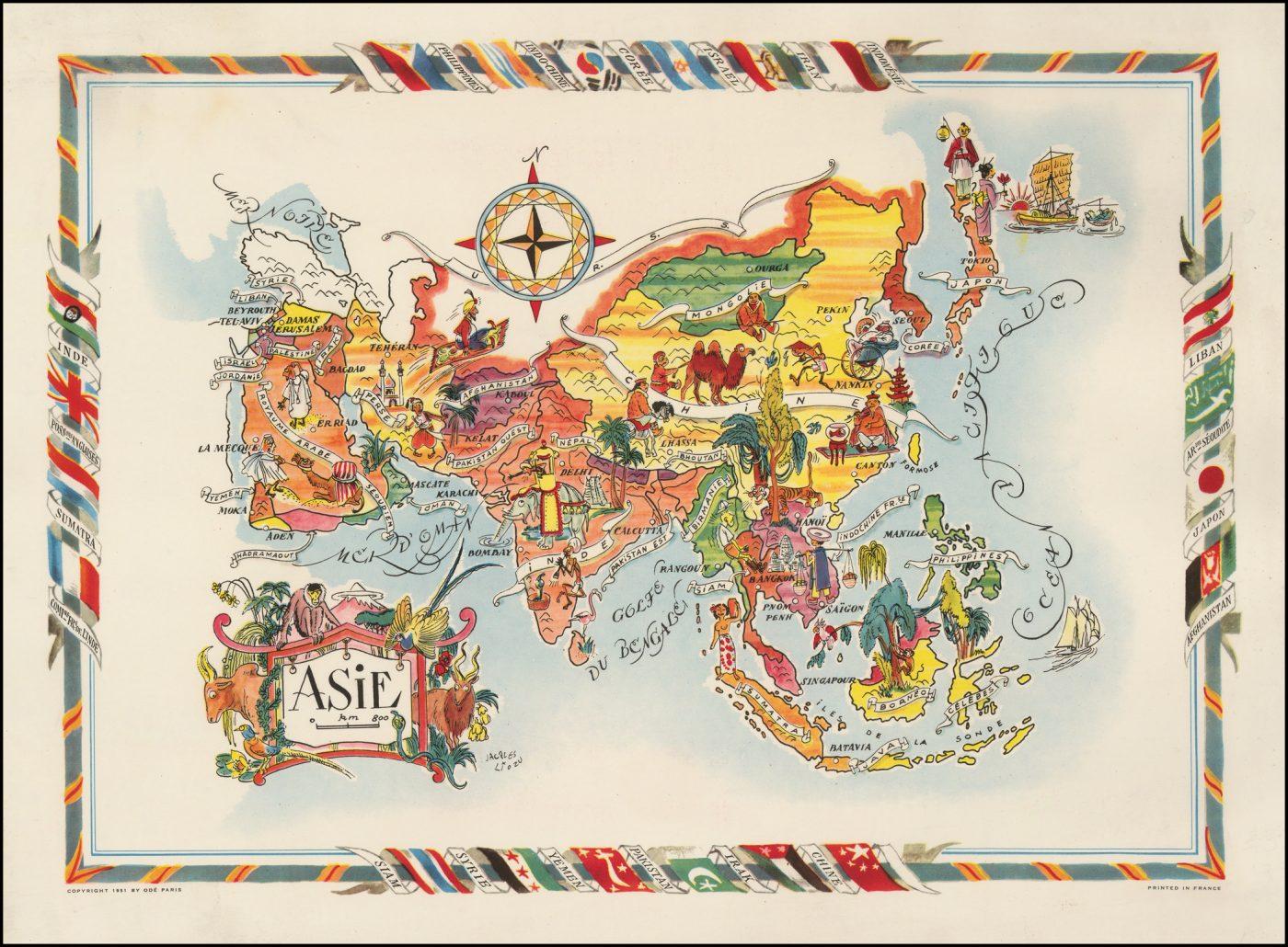 Оригинальная карта Азии работы Лиозу, сделанная в 1951 году