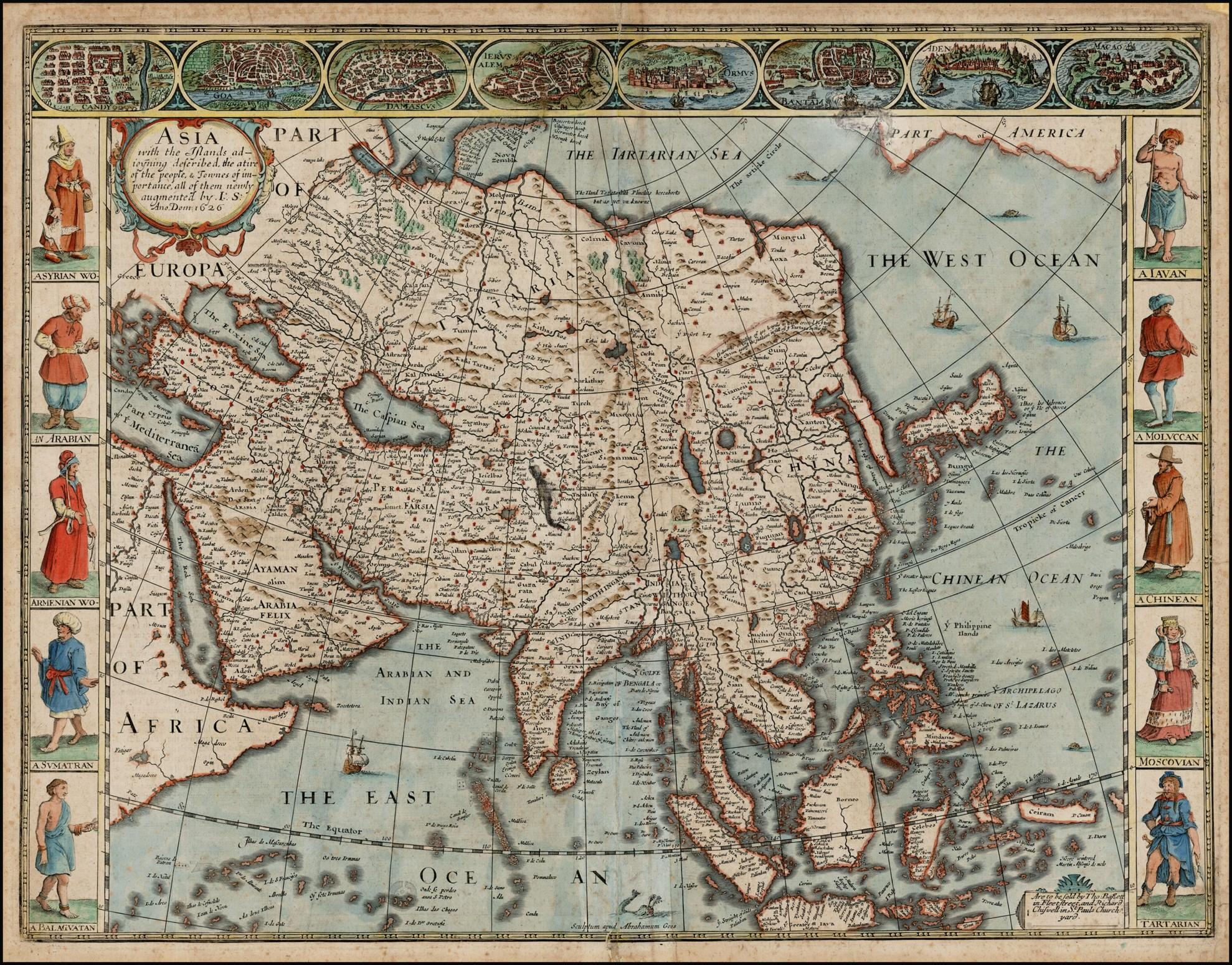 Оригинальная карта Джона Спида с изображением Азии, 1676 год