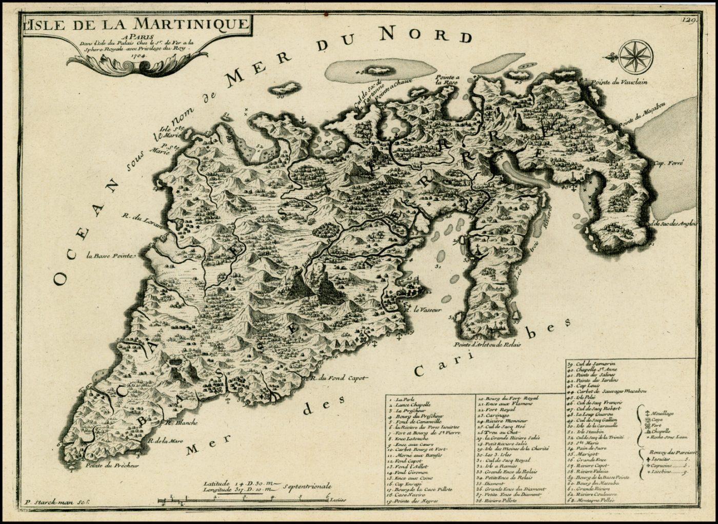 Оригинальная карта с изображением Карибского моря де Фера, 1705 год