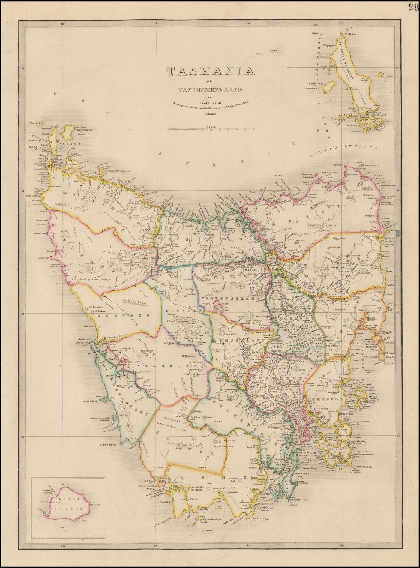 Оригинальная карта Уайлда 1850 года с изображением Тасмании