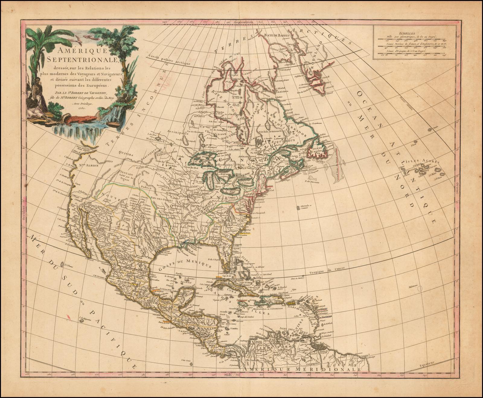 Первая крупноформатная карта Северной Америки де Вогонди