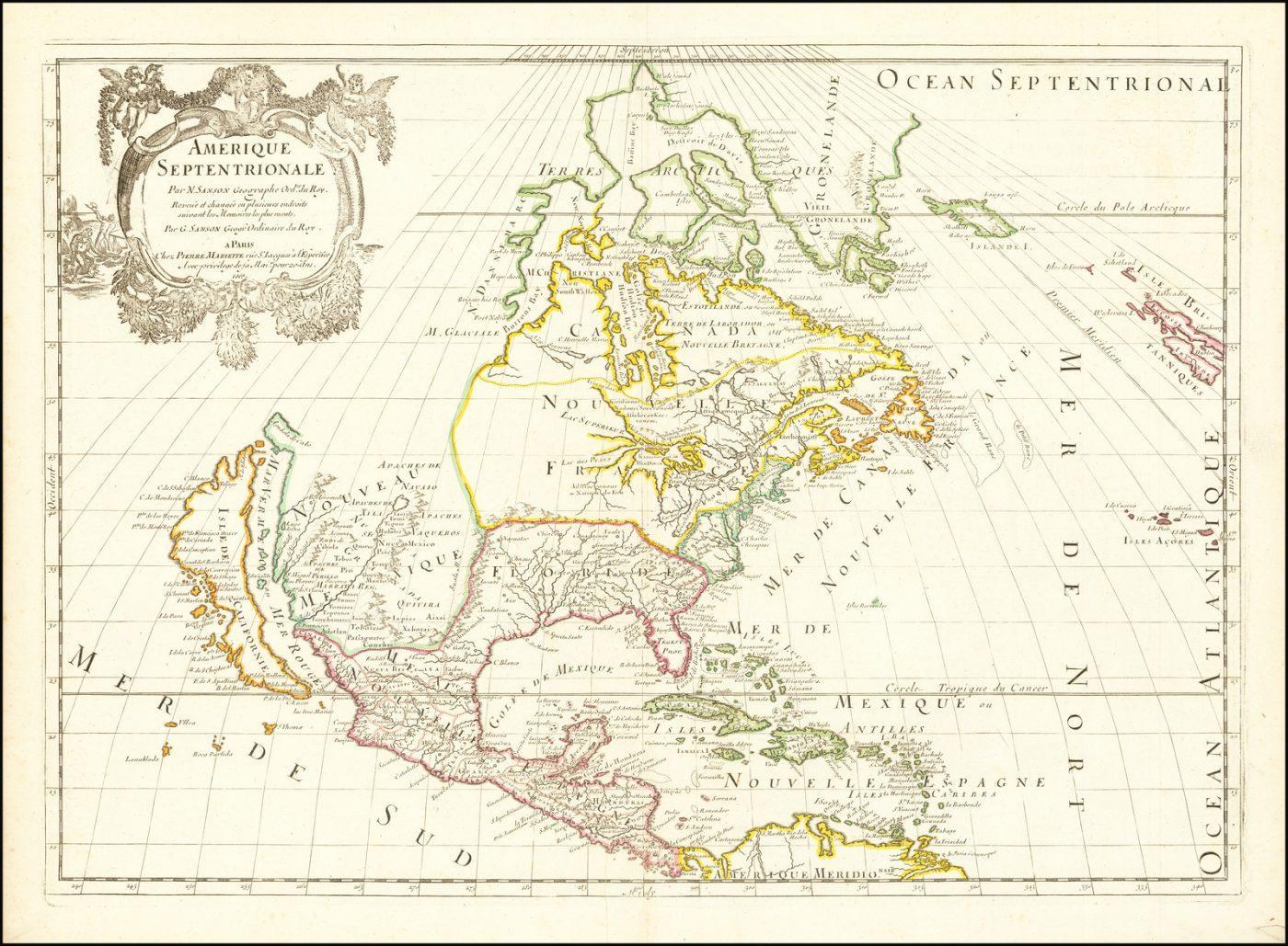 Первое издание карты Северной Америки Сансона-Марриетта, впервые выпущенной в 1669 году