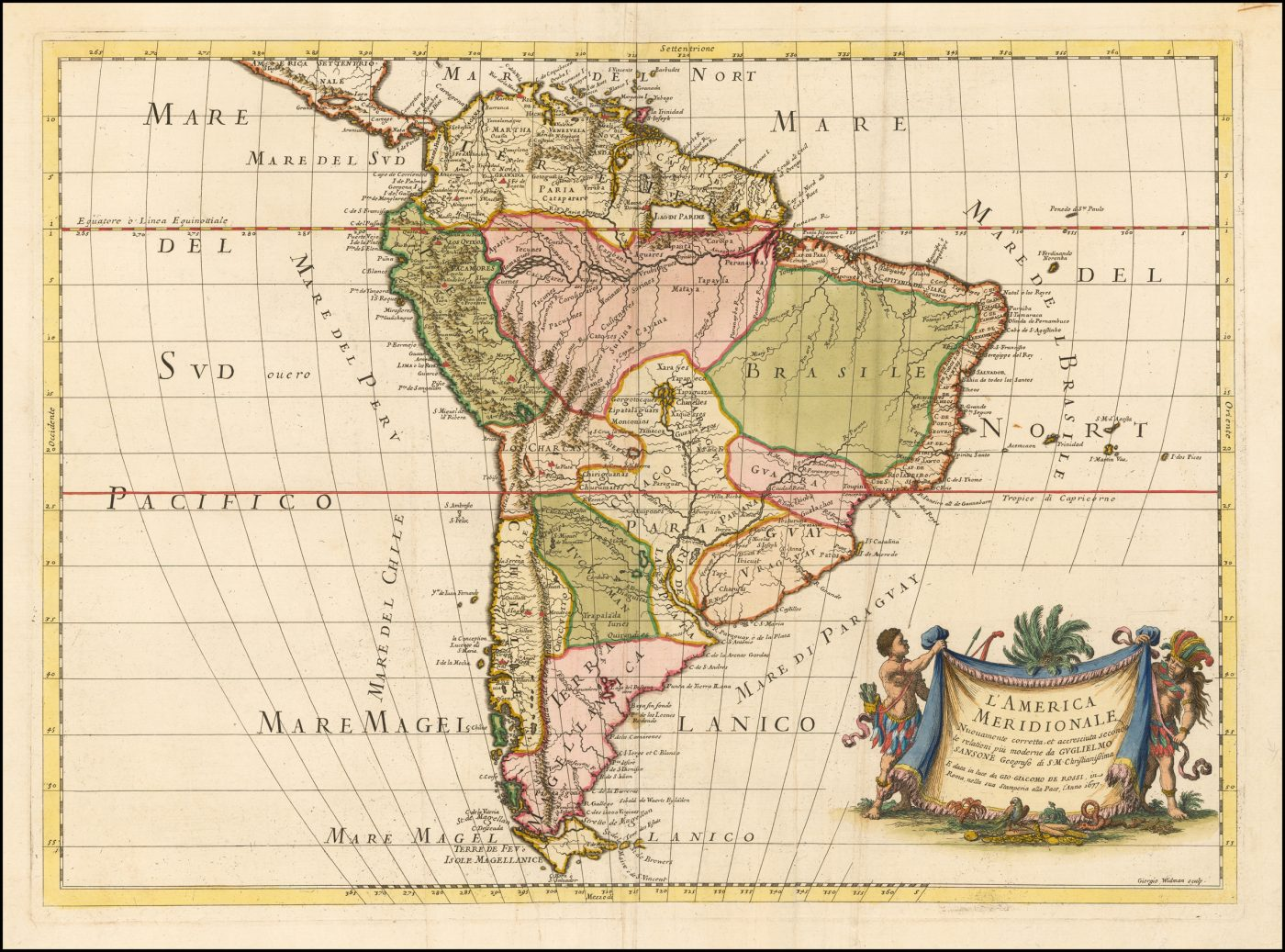 Первое издание карты Южной Америки Джакомо Джованни Росси, опубликованной в Риме в 1677 году