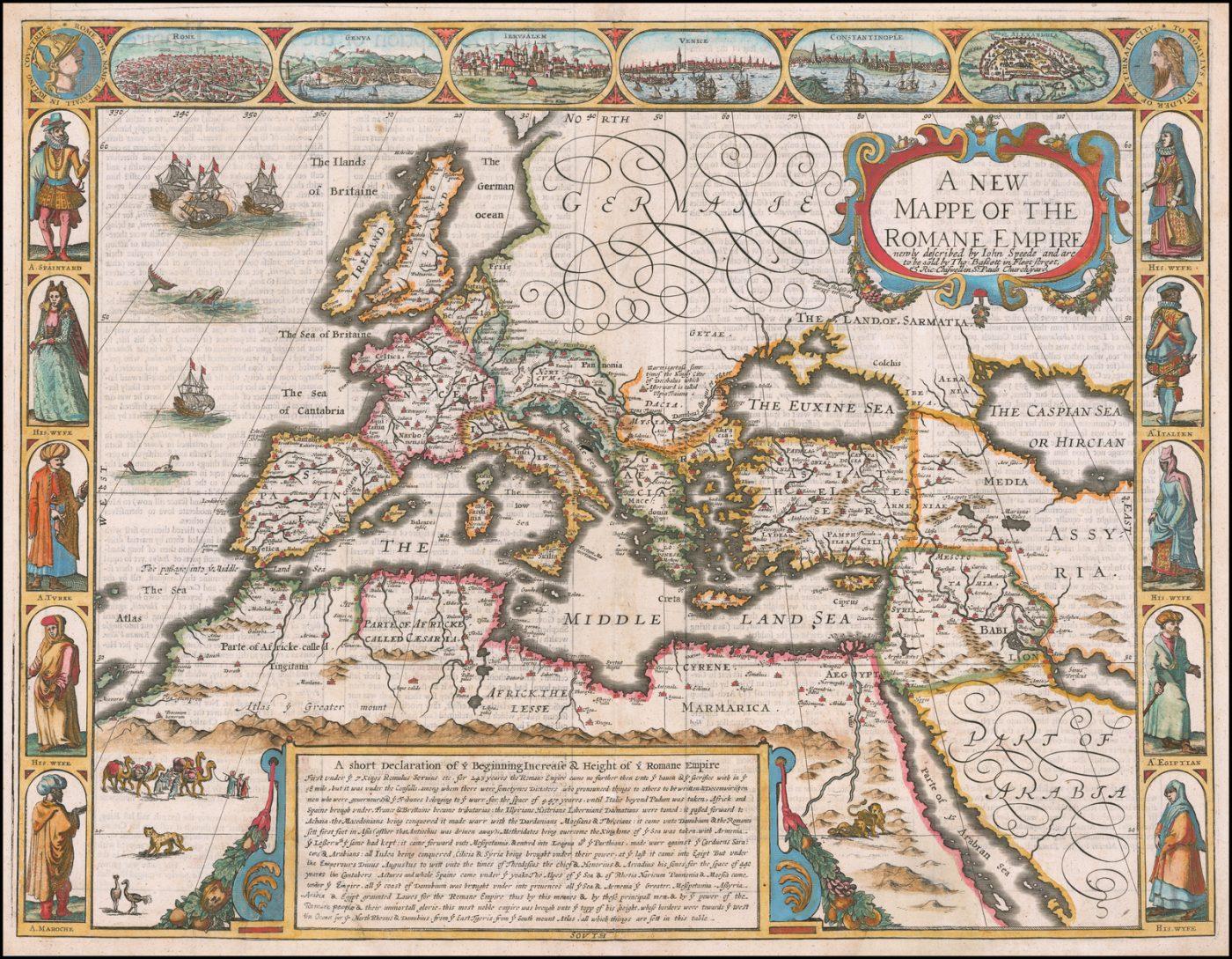 Подлинная карта Римской империи 17 века - Джон Спид 1676 год