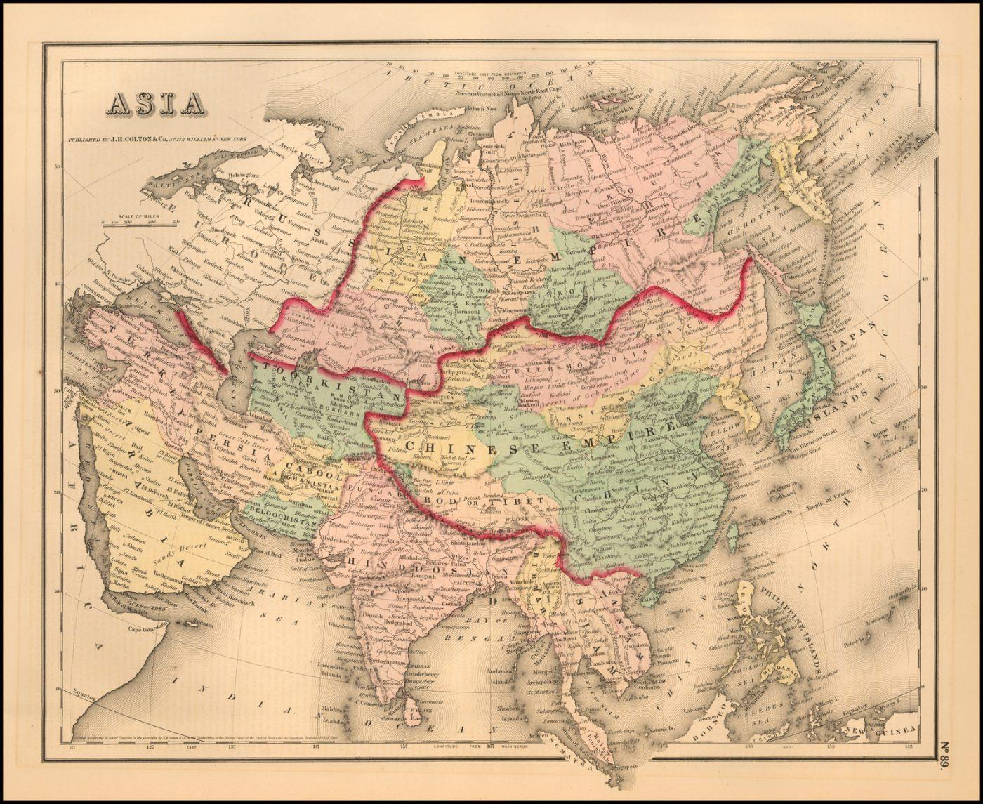 Подробная карта Азиатского континента, раскрашенная по странам и провинциям