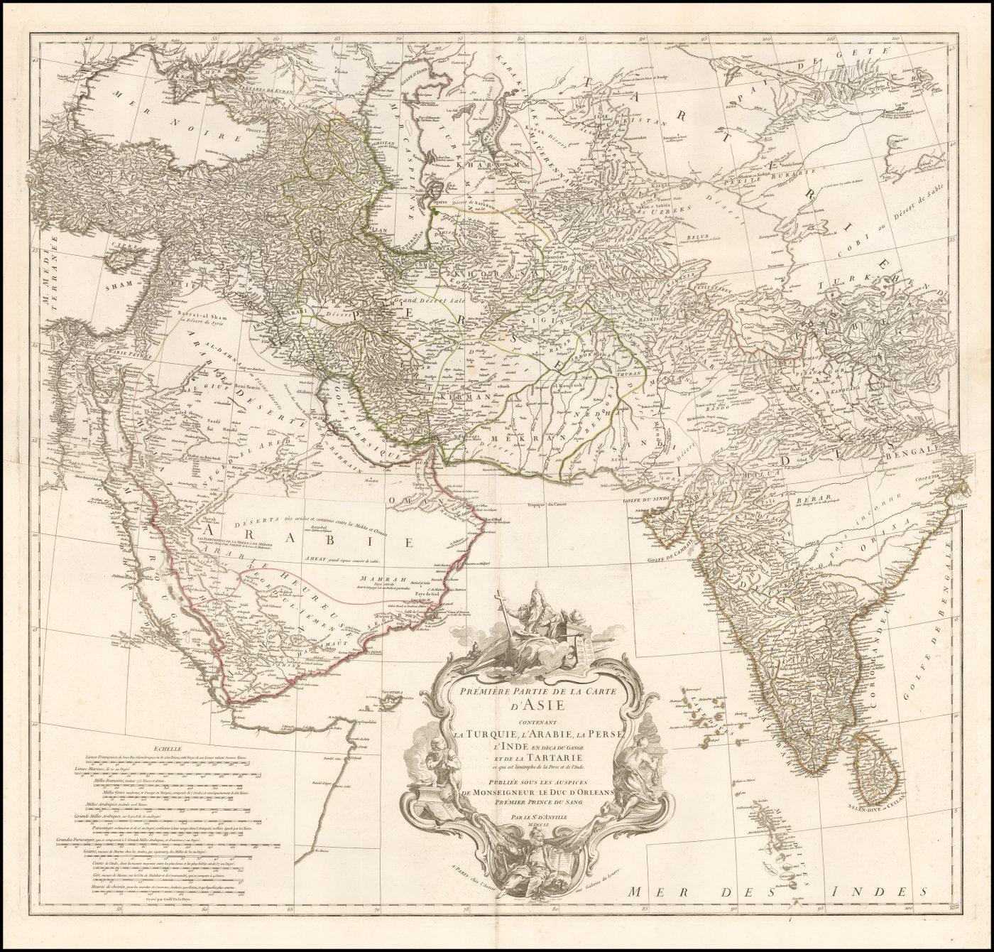Поразительная 2-х листовая карта западной половины Азии, изданная Д'Анвилем