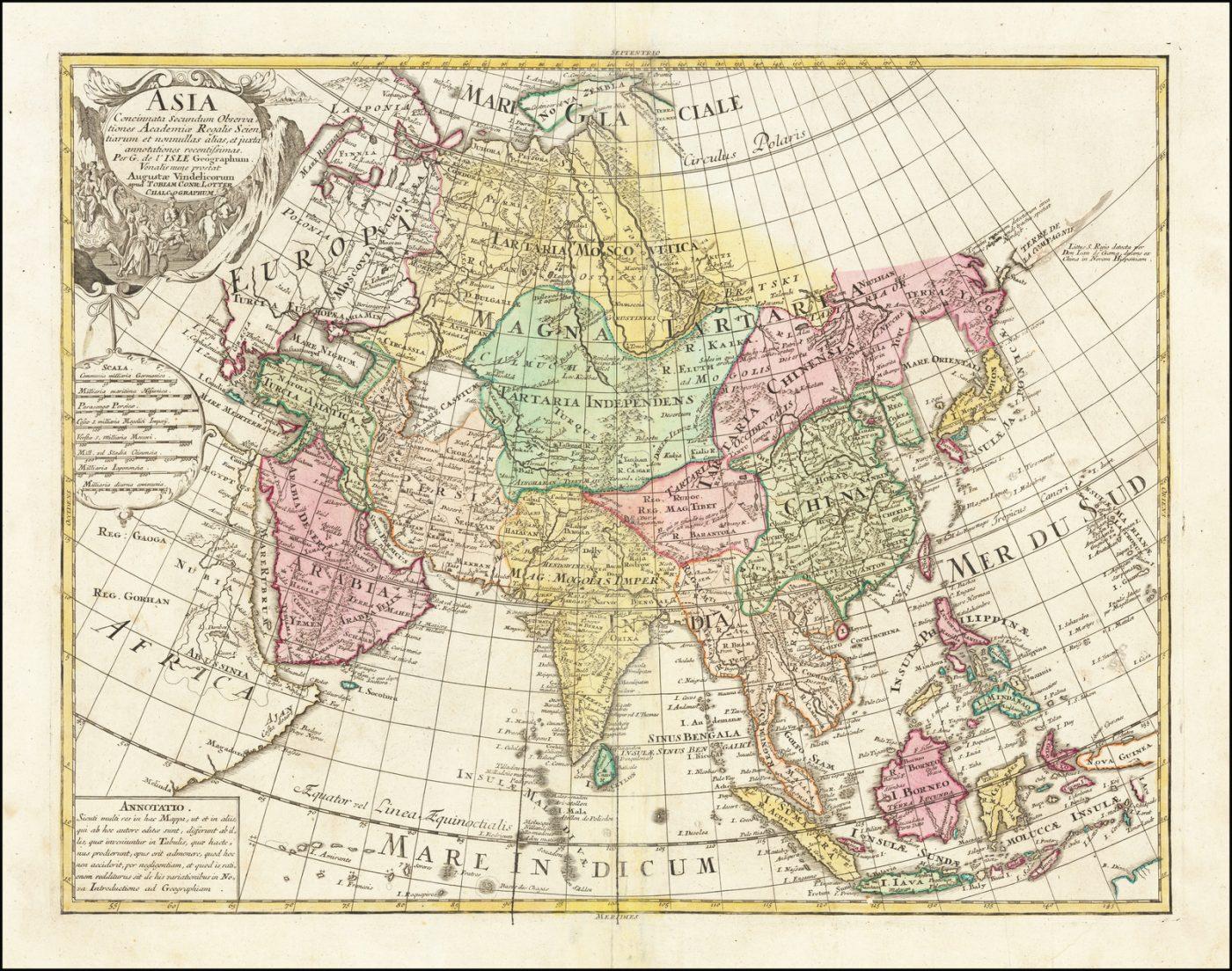 Поразительная карта Азии XVIII века Тобиаса Конрада Лоттера