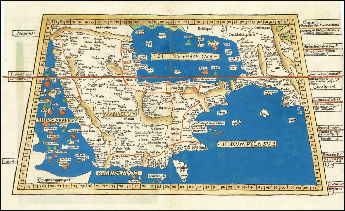 Потрясающая карта Аравийского полуострова, первое печатное изображение региона на дереве, выполненное в эффектной ручной раскраске