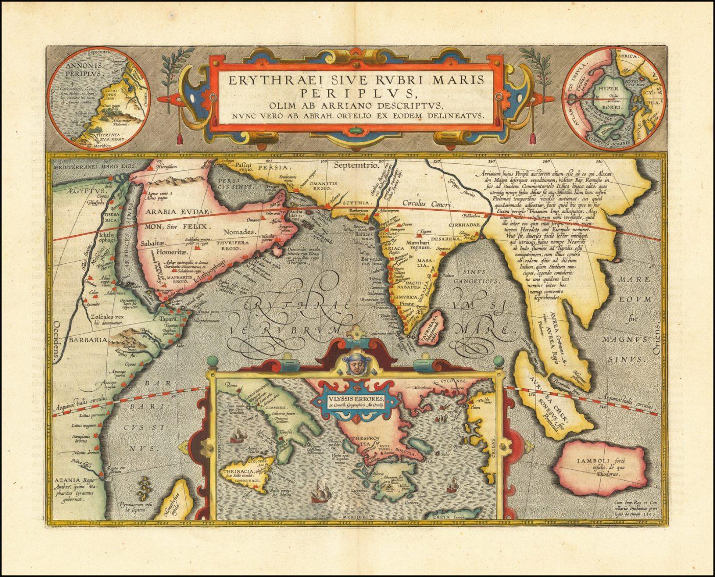 Прекрасная карта Индийского океана Ортелиуса, связывающая мифические, древние и современные исследования
