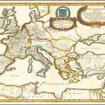 Прекрасно раскрашенный пример карты Европы, Средиземноморья и Малой Азии, составленной Дю Валем