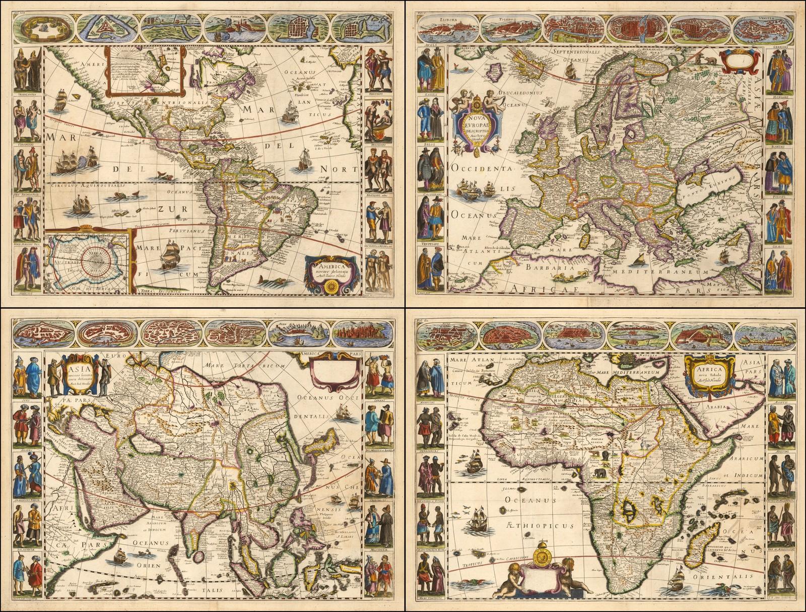 Прекрасный набор панельных карт 4 континентов из книги Пьера Д'Авити, опубликованной в Париже в 1659 году