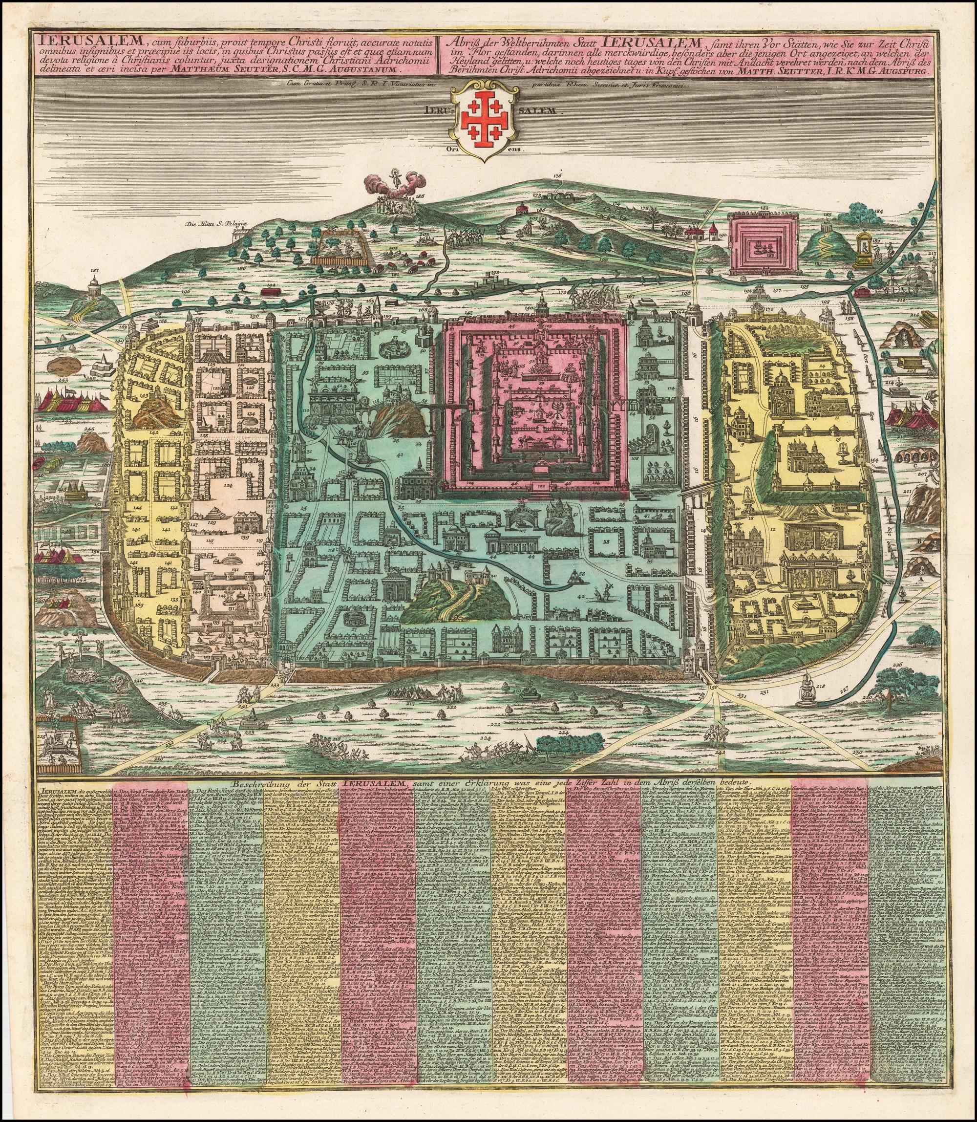 Прекрасный полноцветный пример плана города Иерусалима Зюттера, основанного на карте Христиана Ван Адриха 16 века