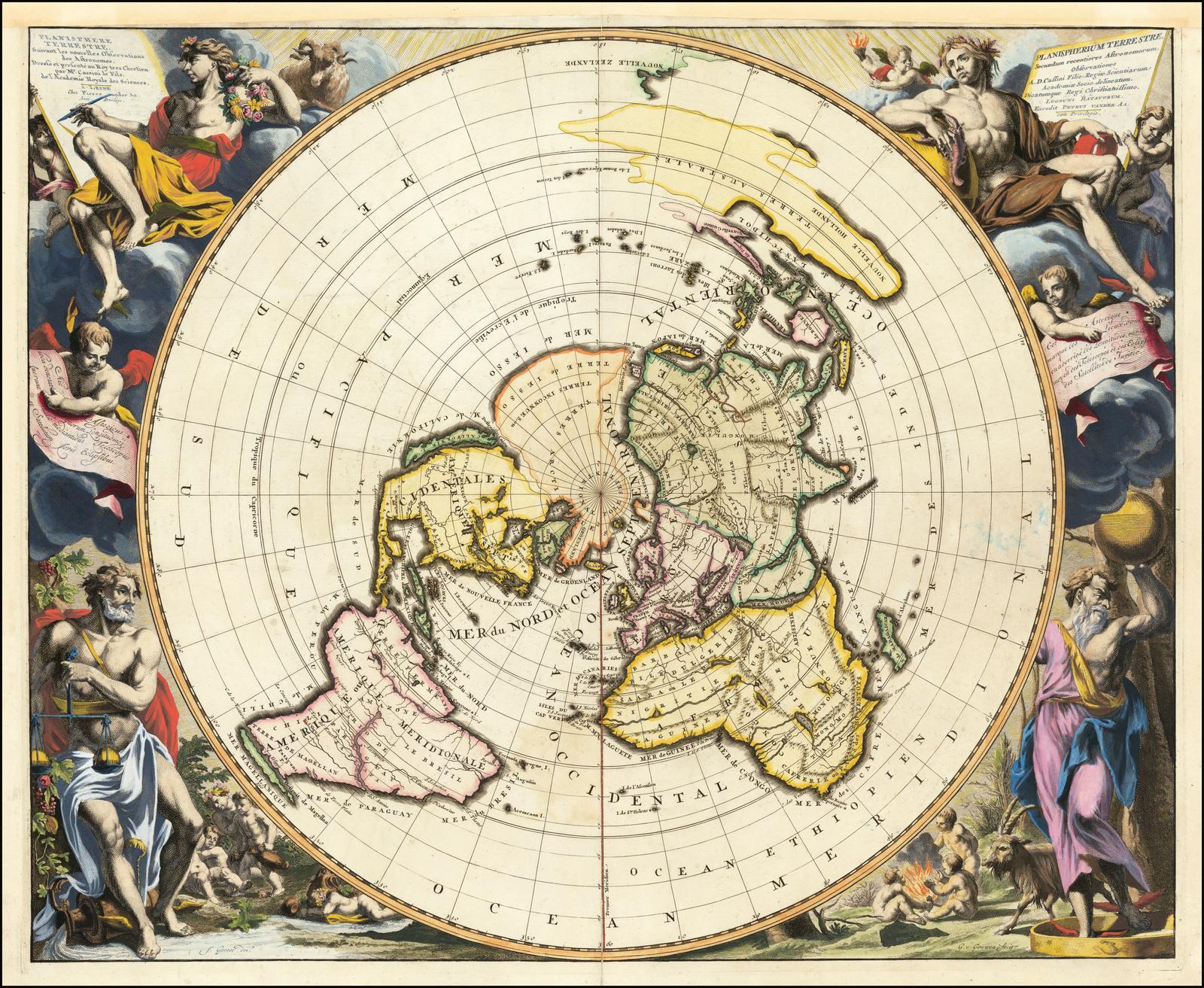 Прекрасный пример карты мира Питера ван дер Аа, использующей важную Северную полярную проекцию Кассини