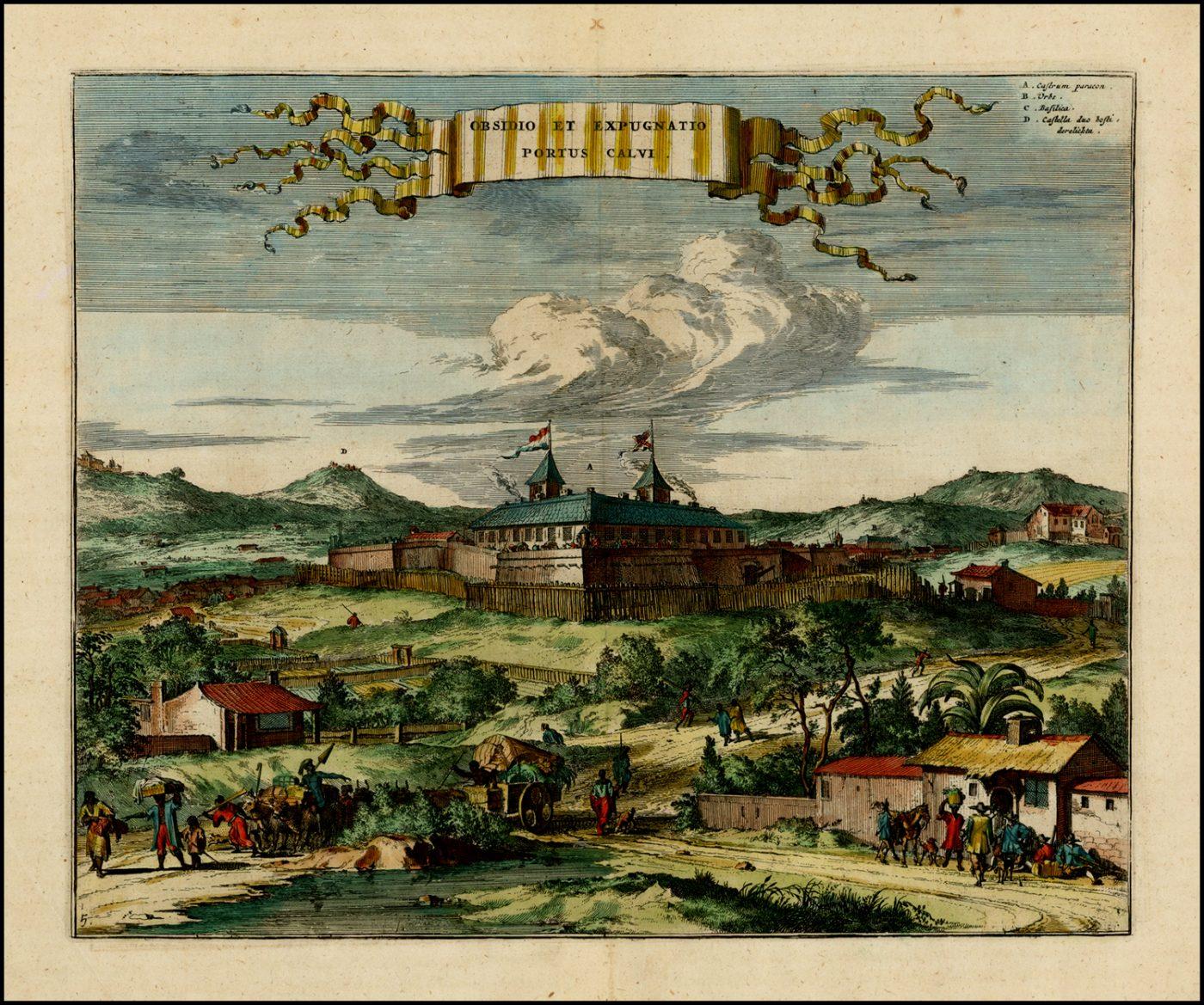 Ранний вид португальского форта Порто-Кальво в Бразилии, 1671 год