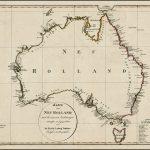 Ранняя карта Австралии, показывающая законченную береговую линию, пролив Басса и открытия как Бодена, так и Флиндерса