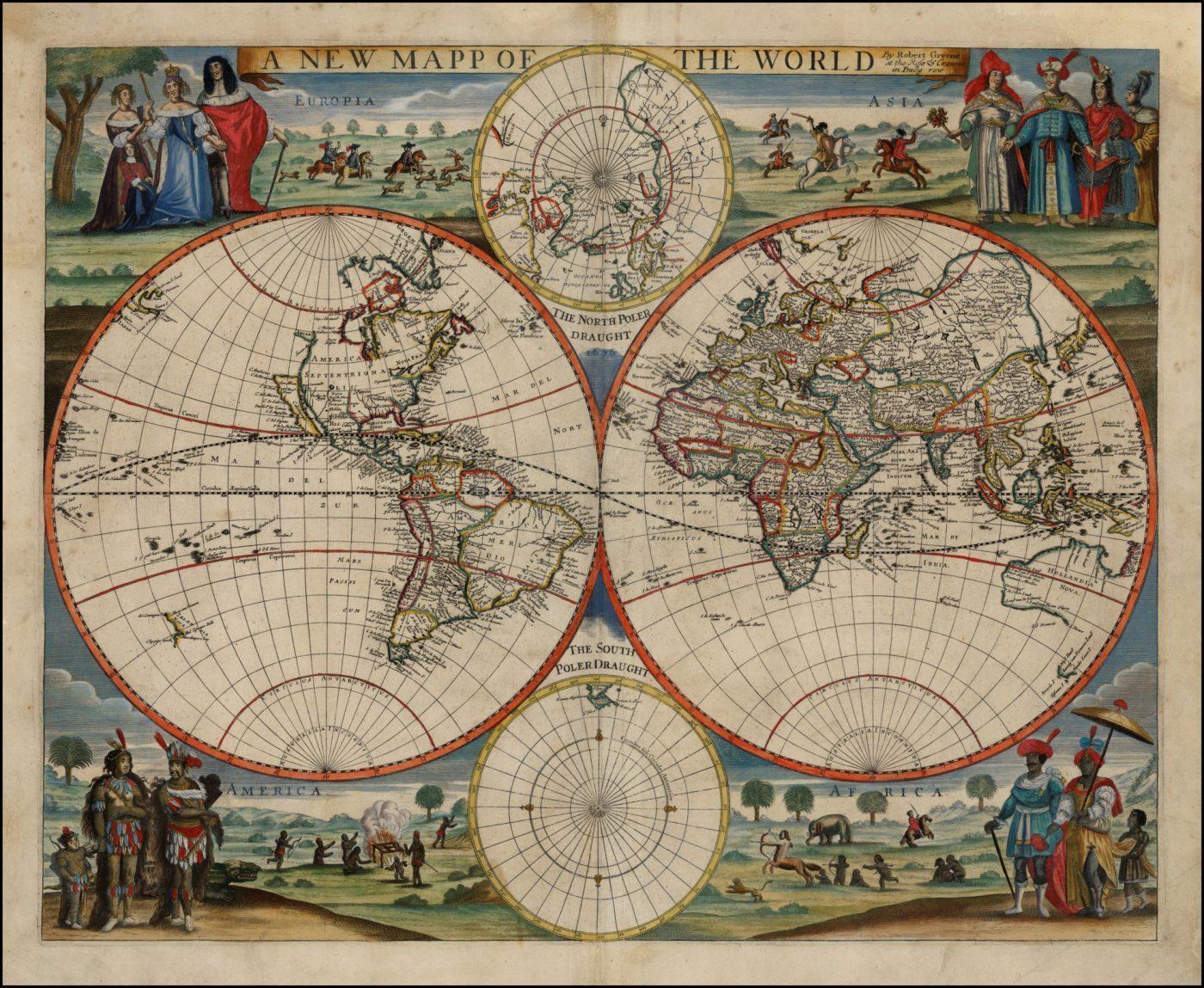 Редкая английская двухполушарная карта мира, опубликованная в Лондоне Робертом Грином