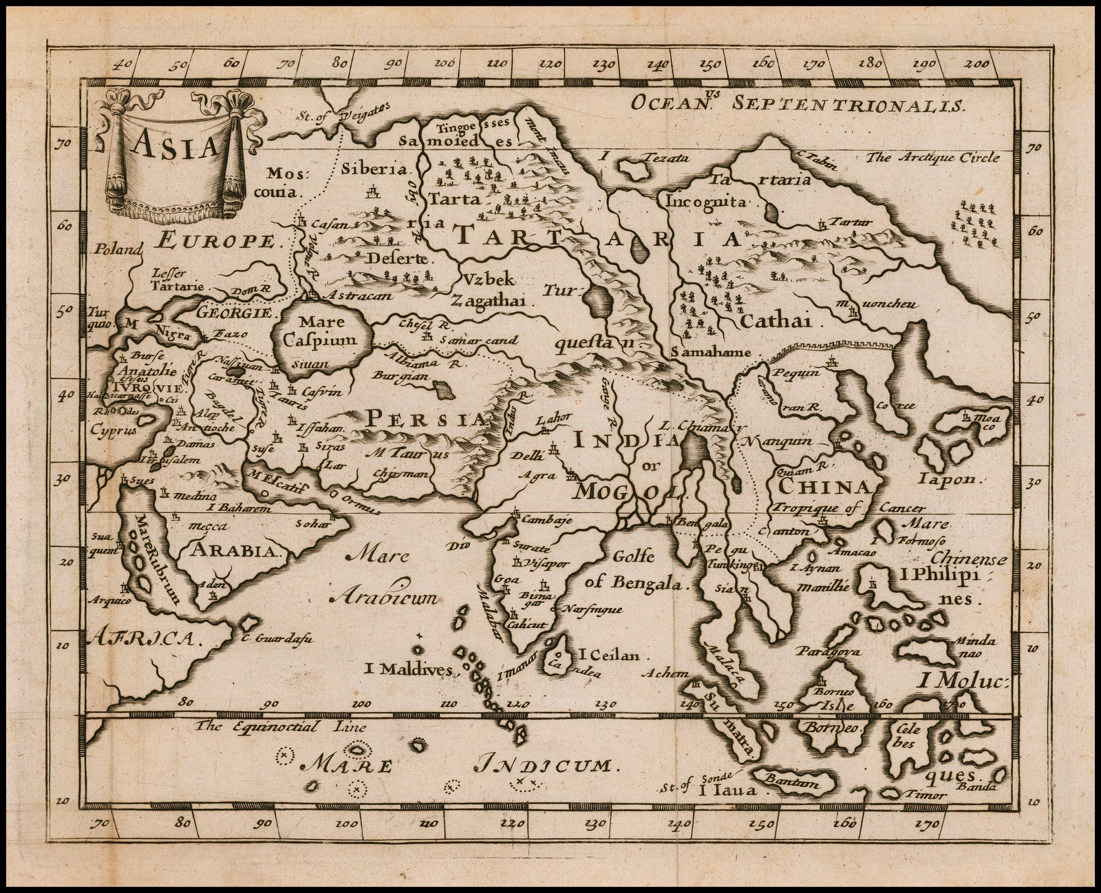 Редкая английская карта Азии Джонаса Мура, опубликованная в Лондоне в 1681 году