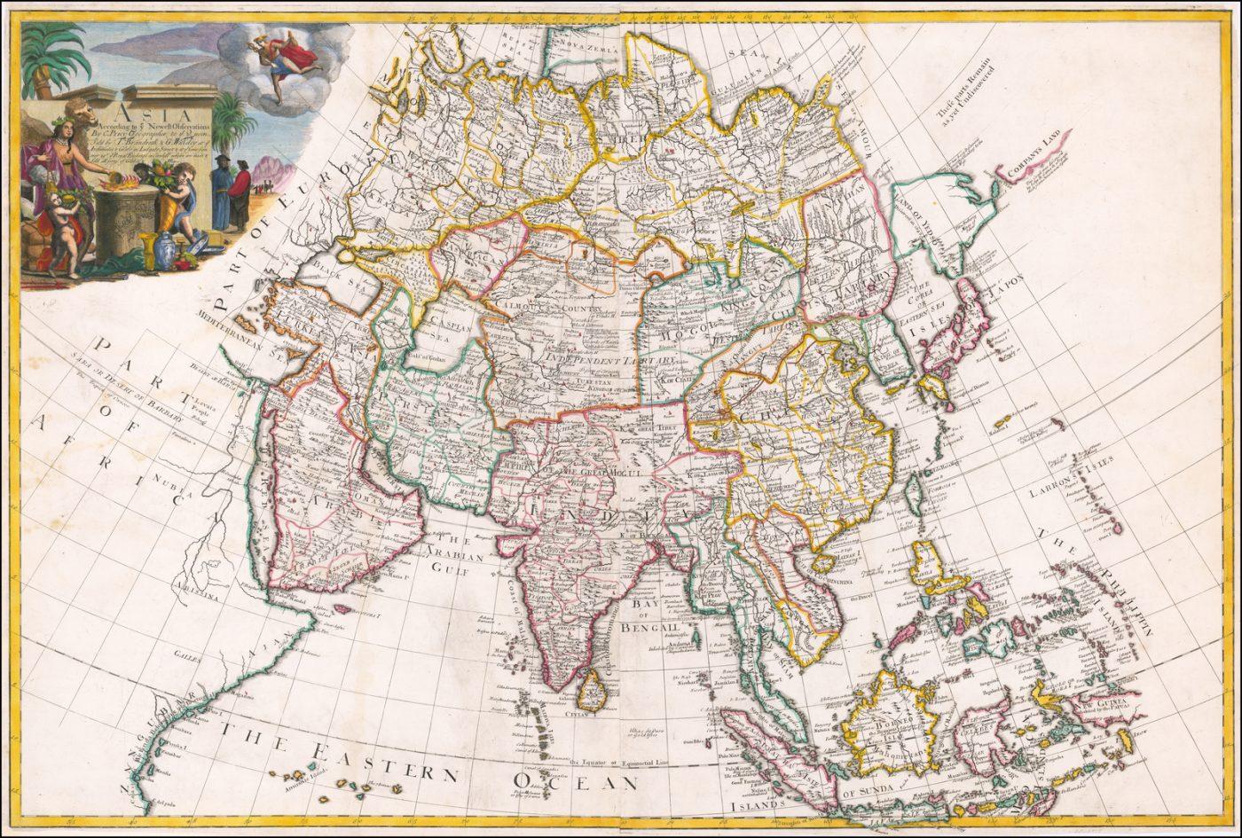 Редкая двухлистная карта Азии, первоначально гравированная Чарльзом Прайсом