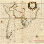 Редкая и очень важная морская карта большей части Южной Америки Арнольда Колома, 1656 года