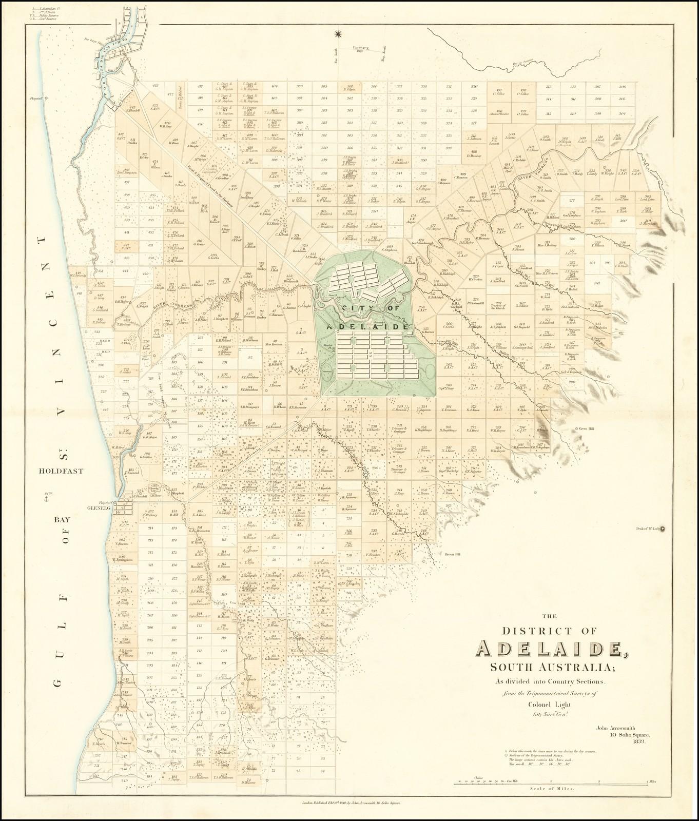 Редкая кадастровая карта местности вокруг Аделаиды, опубликованная Джоном Эрроусмитом